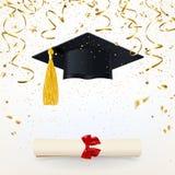 Insegna di congratulazioni con un cappuccio e un diploma laureati royalty illustrazione gratis
