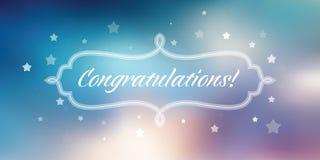 Insegna di congratulazioni su fondo astratto blu royalty illustrazione gratis
