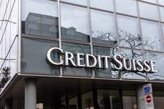 Insegna di Credit Suisse fotografie stock libere da diritti