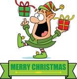 Insegna di Elf di Natale del fumetto Fotografia Stock Libera da Diritti