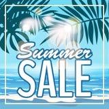 Insegna di estate di vendita, manifesto con le foglie tropicali, foglia della giungla Fondo tropicale di estate del mare Illustra illustrazione vettoriale