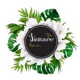 Insegna di festa con la palma tropicale, le foglie di monstera ed i fiori di fioritura della magnolia sui precedenti bianchi Bian illustrazione di stock