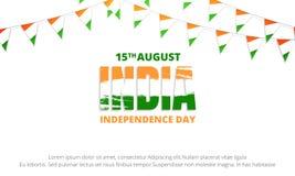 Insegna di festa dell'indipendenza dell'India Insegna con le stamine della bandiera dell'India Fotografie Stock