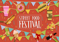Insegna di festival dell'alimento della via Immagine Stock Libera da Diritti