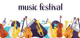 Insegna di festival di musica di jazz con gli strumenti musicali royalty illustrazione gratis