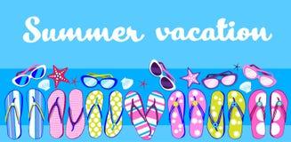 Insegna di Flip Flops Sunglasses Tropical Vacation della spiaggia di estate illustrazione di stock