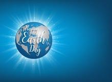 Insegna di giornata per la Terra Illustrazione dell'iscrizione di vettore sul globo blu pl Fotografie Stock