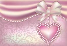 Insegna di giorno del biglietto di S. Valentino s con cuore e le perle Fotografia Stock Libera da Diritti