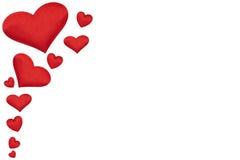 Insegna di giorno del ` s del biglietto di S. Valentino, cuori rossi isolati su bianco Fotografie Stock