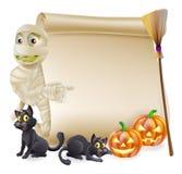 Insegna di Halloween del rotolo della mummia Fotografia Stock