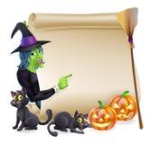 Insegna di Halloween del rotolo della strega Immagine Stock