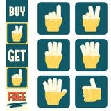 Insegna di happy hour ed insieme verticali delle icone promozionali Immagini Stock