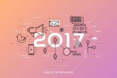 Insegna di Infographic, 2017 - anno di opportunità Tendenze relative, previsioni ed aspettative alle tecnologia di mezzi d'inform Fotografia Stock