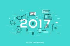 Insegna di Infographic, 2017 - anno di opportunità Tendenze relative, previsioni ed aspettative alle tecnologia di mezzi d'inform Fotografia Stock Libera da Diritti