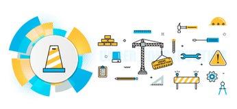 Insegna di intestazione in costruzione del sito Web della costruzione nel ele dei cerchi illustrazione vettoriale