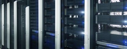 Insegna di intestazione del sito Web Centro dati, stanza del server Supercomputer fantastico fotografie stock libere da diritti