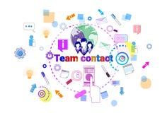 Insegna di lavoro di squadra di cooperazione di Team Contact Concept Business Coworkers Immagine Stock Libera da Diritti