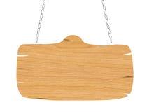Insegna di legno in bianco con la catena Fotografie Stock Libere da Diritti