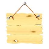 Insegna di legno che appende su un chiodo. Vettore. Fotografia Stock