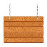 Insegna di legno che appende sulle catene isolate Illustrazione di vettore illustrazione di stock