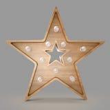 Insegna di legno della luce della stella Immagini Stock