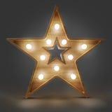 Insegna di legno della luce della stella Di alta risoluzione Immagine Stock Libera da Diritti