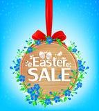 Insegna di legno di vendita di Pasqua Immagine Stock Libera da Diritti