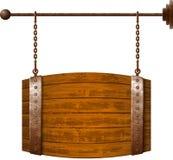 Insegna di legno a forma di del barilotto royalty illustrazione gratis