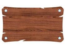 Insegna di legno marrone in bianco con la vite Fotografia Stock