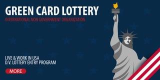 Insegna di lotteria della carta verde Immigrazione e visto ad U.S.A. illustrazione di stock