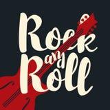 Insegna di musica, rock-and-roll calligrafico dell'iscrizione Fotografia Stock
