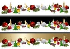 Insegna di Natale con tre variazioni del fondo Immagine Stock