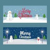 Insegna di Natale dei pupazzi di neve Immagini Stock