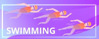 Insegna di nuoto di concetto, stile del fumetto illustrazione vettoriale