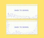 Insegna di nuovo alla carta per appunti della scuola Immagini Stock Libere da Diritti