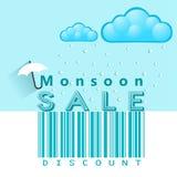 Insegna di offerta e di vendita di monsone, aletta di filatoio o manifesto con pioggia ed il concetto aperto dell'ombrello royalty illustrazione gratis