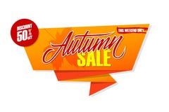 Insegna di offerta speciale di Autumn Sale con l'iscrizione della mano per il lavoro stagionale Fotografia Stock