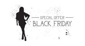 Insegna di offerta speciale di Black Friday con il fondo di gomma di bianco di Female Silhouette On del modello di moda di lerciu Fotografia Stock