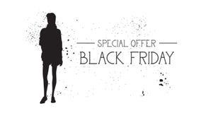 Insegna di offerta speciale di Black Friday con il fondo di gomma di bianco di Female Silhouette On del modello di moda di lerciu Immagini Stock Libere da Diritti