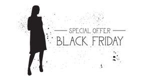 Insegna di offerta speciale di Black Friday con il fondo di gomma di bianco di Female Silhouette On del modello di moda di lerciu Fotografie Stock Libere da Diritti