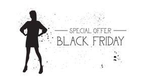 Insegna di offerta speciale di Black Friday con il fondo di gomma di bianco di Female Silhouette On del modello di moda di lerciu Immagine Stock