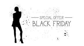 Insegna di offerta speciale di Black Friday con il fondo di gomma di bianco di Female Silhouette On del modello di moda di lerciu Immagine Stock Libera da Diritti
