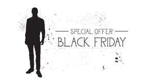 Insegna di offerta speciale di Black Friday con il fondo di gomma di bianco di Male Silhouette On del modello di moda di lerciume Fotografia Stock Libera da Diritti