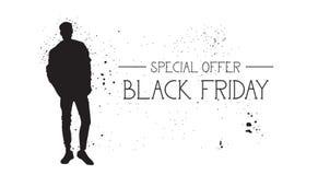 Insegna di offerta speciale di Black Friday con il fondo di gomma di bianco di Male Silhouette On del modello di moda di lerciume Fotografia Stock