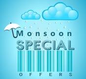 Insegna di offerta speciale e di vendita di monsone, aletta di filatoio o manifesto con pioggia ed il concetto aperto dell'ombrel illustrazione vettoriale