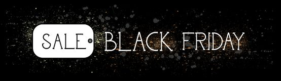 Insegna di orizzontale di promozione di concetto di sconto di festa del messaggio dell'etichetta di vendita di Black Friday Fotografia Stock