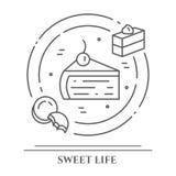 Insegna di orizzontale di tema dei biscotti e dei dolci I pittogrammi della torta, del brownie, del biscotto, del tiramisù, del r illustrazione di stock