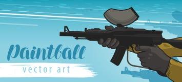 Insegna di paintball Mette in mostra il gioco di squadra Illustrazione di vettore del fumetto Fotografie Stock