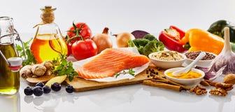 Insegna di panorama con l'alimento sano del cuore Fotografia Stock