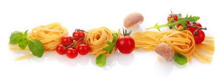 Insegna di panorama degli ingredienti sani freschi della pasta fotografia stock libera da diritti